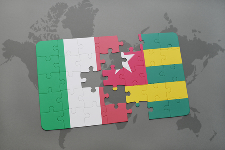 italian politics: puzzle with the national flag of italy and togo on a world map background. 3D illustration