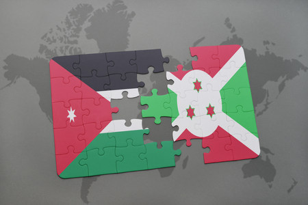 bujumbura: puzzle with the national flag of jordan and burundi on a world map background. 3D illustration