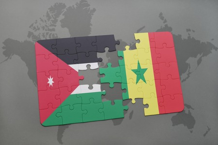 senegal: puzzle with the national flag of jordan and senegal on a world map background. 3D illustration Stock Photo