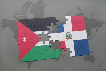 puzzle with the national flag of jordan and dominican republic on a world map background. 3D illustration