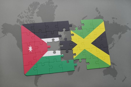 kingston: puzzle with the national flag of jordan and jamaica on a world map background. 3D illustration