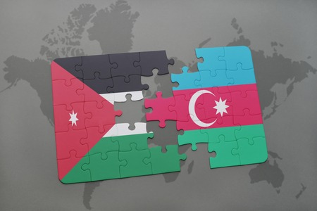 middle east conflict: puzzle with the national flag of jordan and azerbaijan on a world map background. 3D illustration