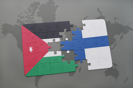 Puzzle with the national flag of jordan and finland on a world illustration puzzle with the national flag of jordan and finland on a world map background 3d illustration gumiabroncs Images