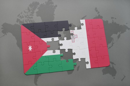 map malta: puzzle with the national flag of jordan and malta on a world map background. 3D illustration