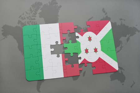 bujumbura: puzzle with the national flag of italy and burundi on a world map background. 3D illustration