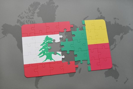 benin: puzzle with the national flag of lebanon and benin on a world map background. 3D illustration Stock Photo