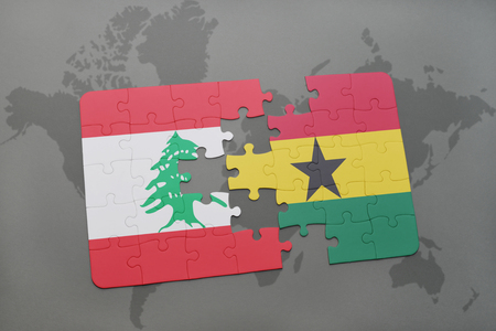puzzle with the national flag of lebanon and ghana on a world map background. 3D illustration