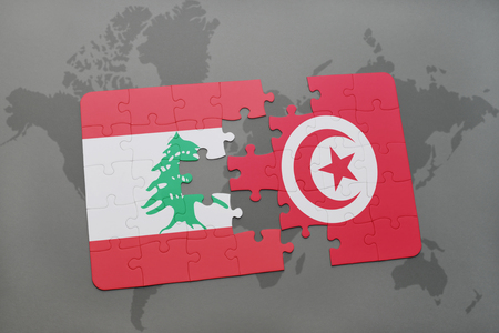 middle east conflict: puzzle with the national flag of lebanon and tunisia on a world map background. 3D illustration Stock Photo