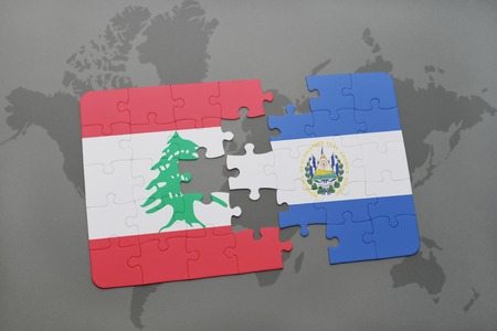 mapa de el salvador: puzzle with the national flag of lebanon and el salvador on a world map background. 3D illustration