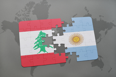 aires: puzzle with the national flag of lebanon and argentina on a world map background. 3D illustration