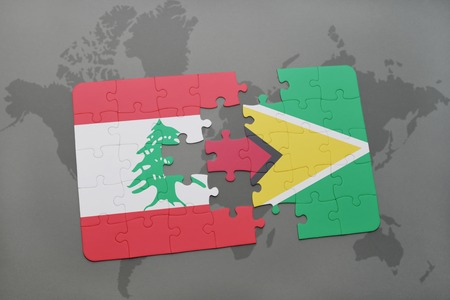 lebanese: puzzle with the national flag of lebanon and guyana on a world map background. 3D illustration