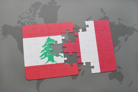 puzzle with the national flag of lebanon and peru on a world map background. 3D illustration