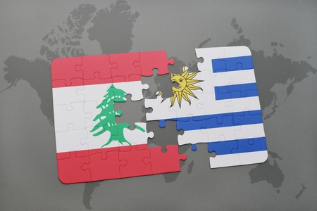 lebanese: puzzle with the national flag of lebanon and uruguay on a world map background. 3D illustration
