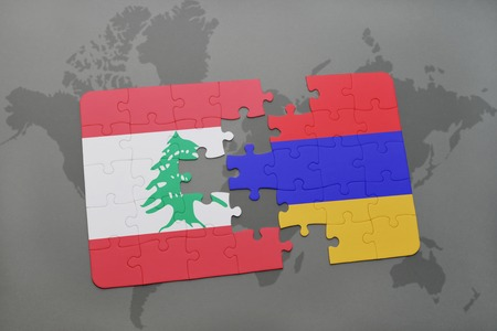 lebanese: puzzle with the national flag of lebanon and armenia on a world map background. 3D illustration