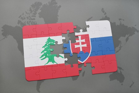 middle east conflict: puzzle with the national flag of lebanon and slovakia on a world map background. 3D illustration