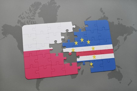 verde: puzzle with the national flag of poland and cape verde on a world map background. 3D illustration