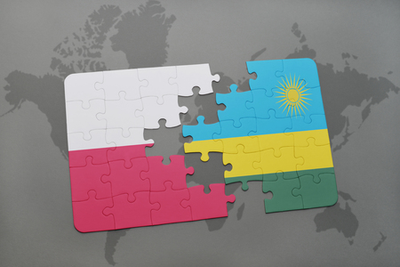 kigali: puzzle with the national flag of poland and rwanda on a world map background. 3D illustration