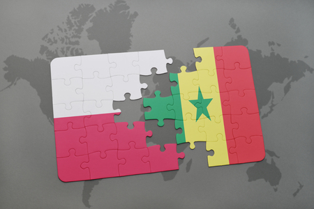 dakar: puzzle with the national flag of poland and senegal on a world map background. 3D illustration