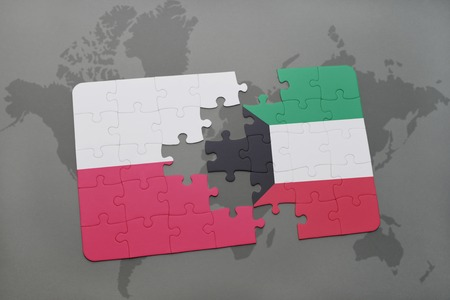 puzzle with the national flag of poland and kuwait on a world map background. 3D illustration Stock Photo
