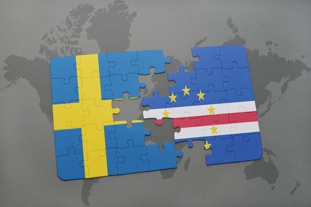 verde: puzzle with the national flag of sweden and cape verde on a world map background. 3D illustration Stock Photo
