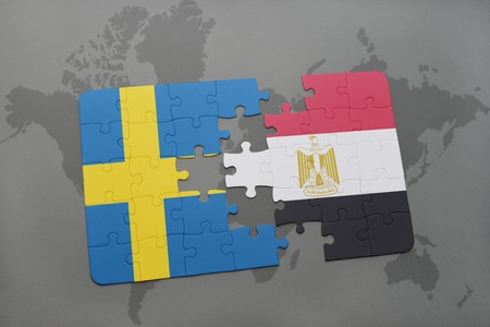 puzzle with the national flag of sweden and egypt on a world map background. 3D illustration