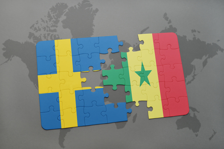 dakar: puzzle with the national flag of sweden and senegal on a world map background. 3D illustration