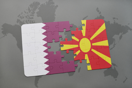 puzzle with the national flag of qatar and macedonia on a world map background. 3D illustration