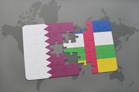 puzzle with the national flag of qatar and central african republic on a world map background. 3D illustration
