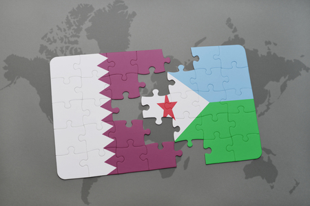 puzzle with the national flag of qatar and djibouti on a world map background. 3D illustration Stock Photo