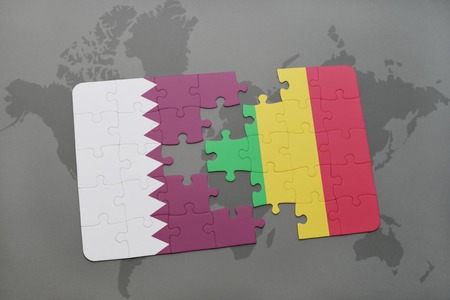 mali: puzzle with the national flag of qatar and mali on a world map background. 3D illustration