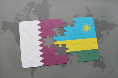 kigali: puzzle with the national flag of qatar and rwanda on a world map background. 3D illustration Stock Photo