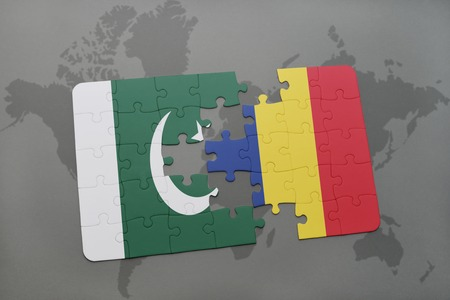 islamabad: puzzle with the national flag of pakistan and chad on a world map background. 3D illustration