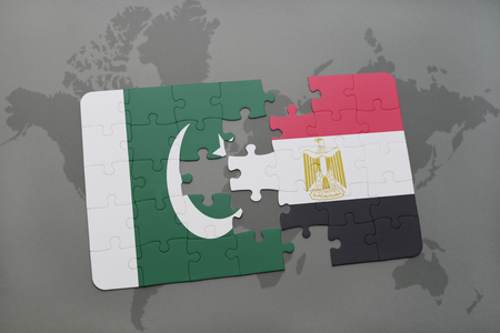 islamabad: puzzle with the national flag of pakistan and egypt on a world map background. 3D illustration