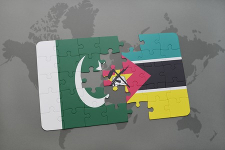 puzzle with the national flag of pakistan and mozambique on a world map background. 3D illustration