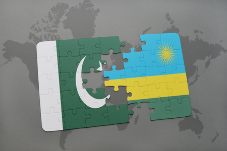 islamabad: puzzle with the national flag of pakistan and rwanda on a world map background. 3D illustration Stock Photo