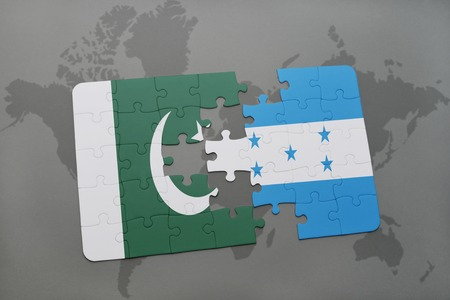islamabad: puzzle with the national flag of pakistan and honduras on a world map background. 3D illustration