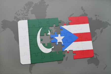 islamabad: puzzle with the national flag of pakistan and puerto rico on a world map background. 3D illustration Stock Photo