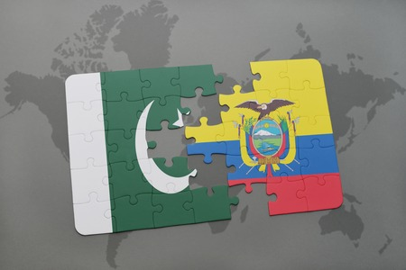 islamabad: puzzle with the national flag of pakistan and ecuador on a world map background. 3D illustration Stock Photo