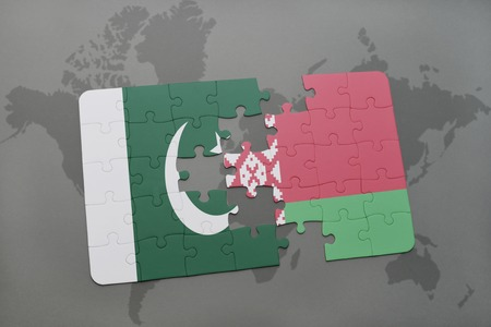 islamabad: puzzle with the national flag of pakistan and belarus on a world map background. 3D illustration