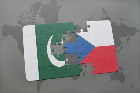 islamabad: puzzle with the national flag of pakistan and czech republic on a world map background. 3D illustration