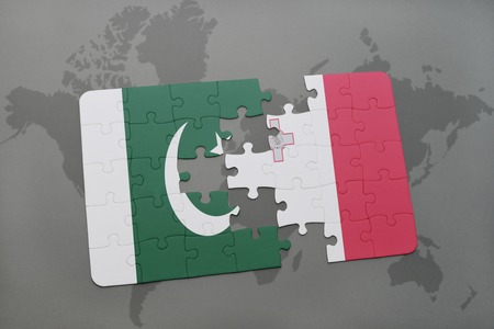 maltese map: puzzle with the national flag of pakistan and malta on a world map background. 3D illustration Stock Photo