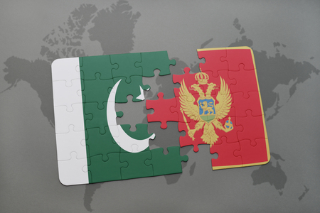 islamabad: puzzle with the national flag of pakistan and montenegro on a world map background. 3D illustration