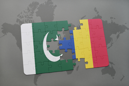 islamabad: puzzle with the national flag of pakistan and romania on a world map background. 3D illustration Stock Photo