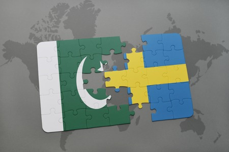 islamabad: puzzle with the national flag of pakistan and sweden on a world map background. 3D illustration