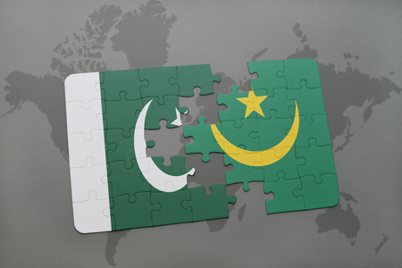 islamabad: puzzle with the national flag of pakistan and mauritania on a world map background. 3D illustration