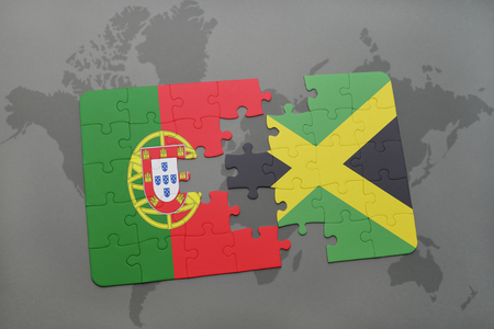 kingston: puzzle with the national flag of portugal and jamaica on a world map background. 3D illustration
