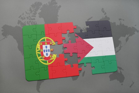 puzzle with the national flag of portugal and palestine on a world map background. 3D illustration