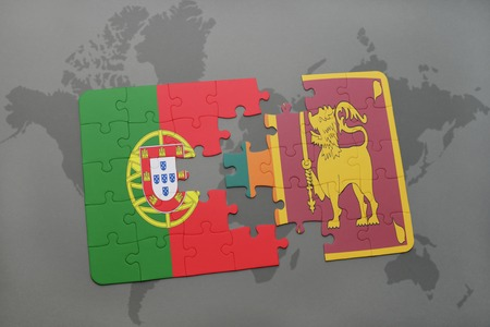 puzzle with the national flag of portugal and sri lanka on a world map background. 3D illustration Stock Photo