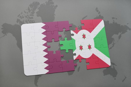 bujumbura: puzzle with the national flag of qatar and burundi on a world map background. 3D illustration