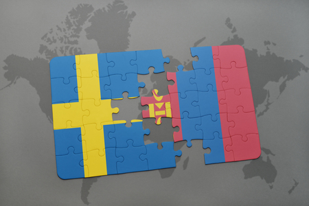 mongolia: puzzle with the national flag of sweden and mongolia on a world map background. 3D illustration Stock Photo